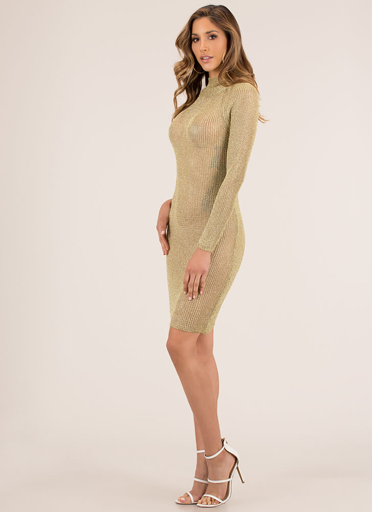 Chic Armor Knit Metallic Midi Dress GOLD (You Saved $32)