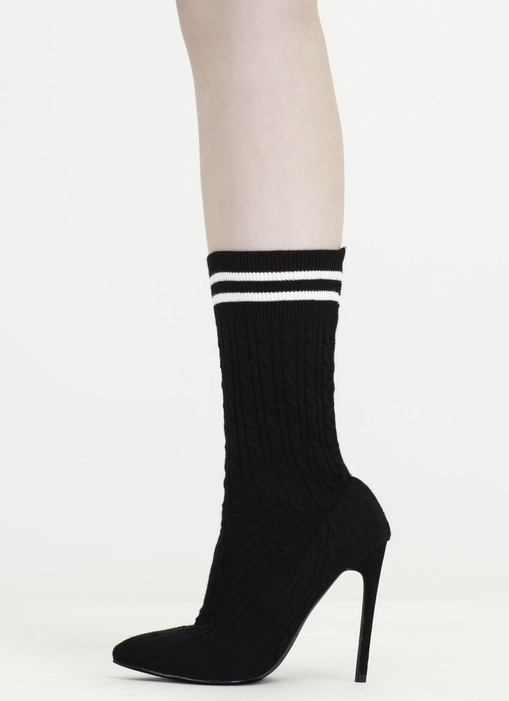 Knit's A Hit Pointy Sock Booties BLACK