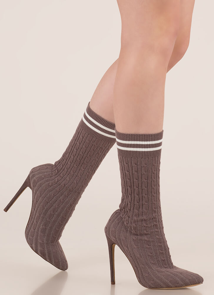 Knit's A Hit Pointy Sock Booties GREY