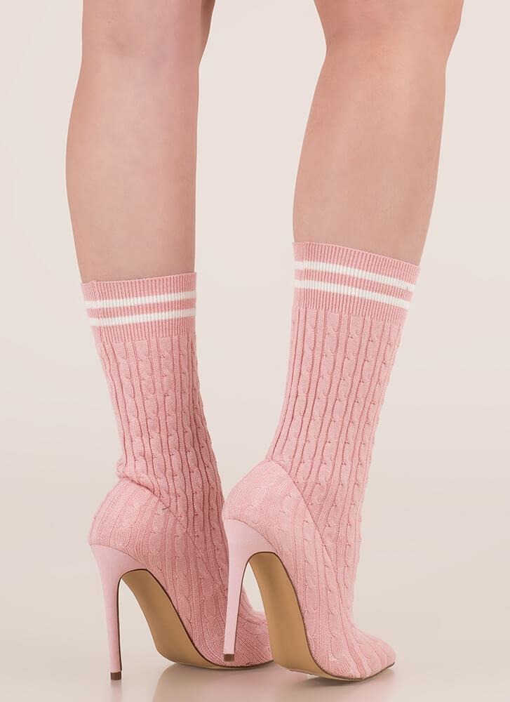 Knit's A Hit Pointy Sock Booties PINK