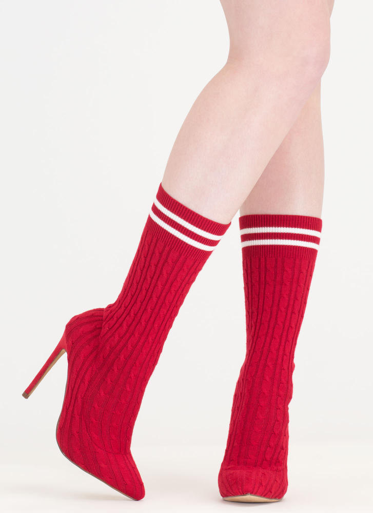 Knit's A Hit Pointy Sock Booties RED
