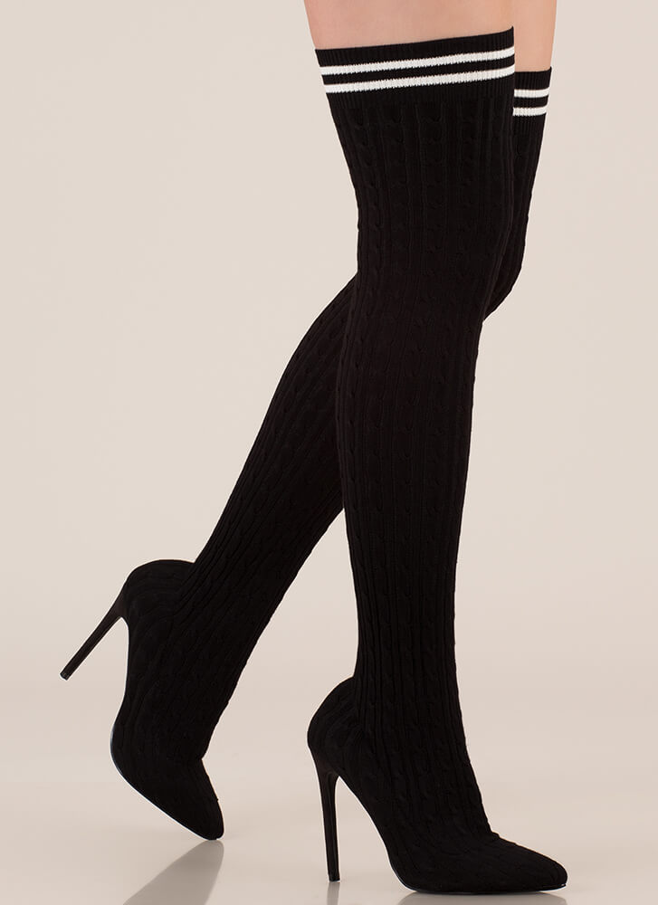 Knit's A Hit Thigh-High Sock Boots BLACK