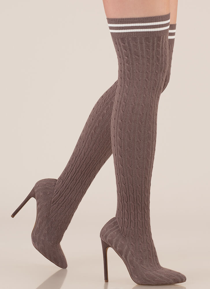 Knit's A Hit Thigh-High Sock Boots GREY