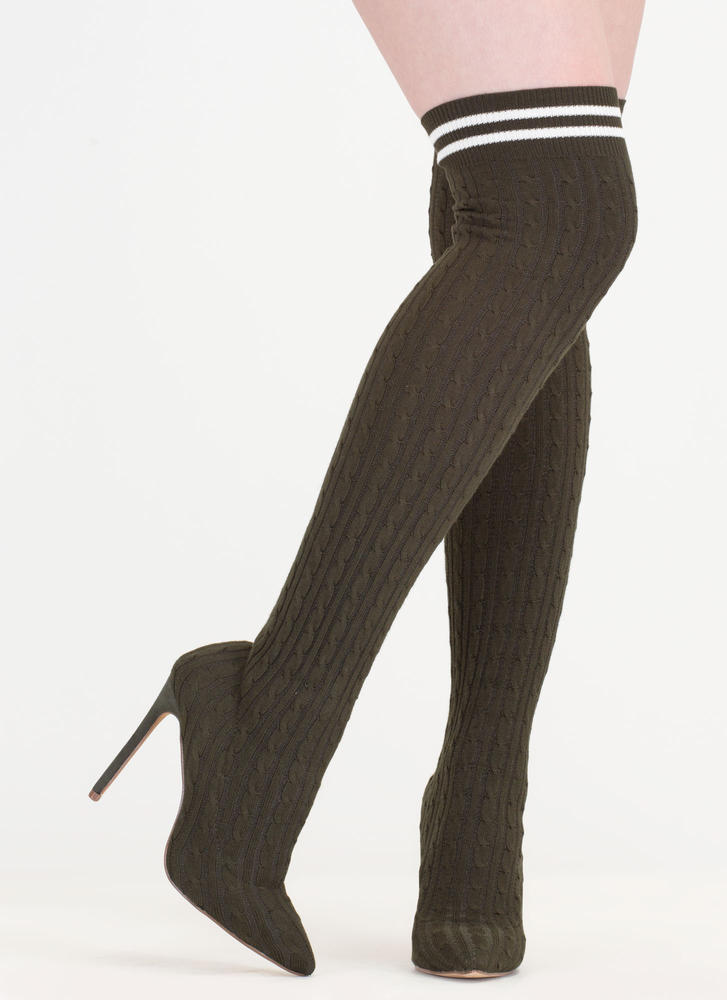 Knit's A Hit Thigh-High Sock Boots OLIVE