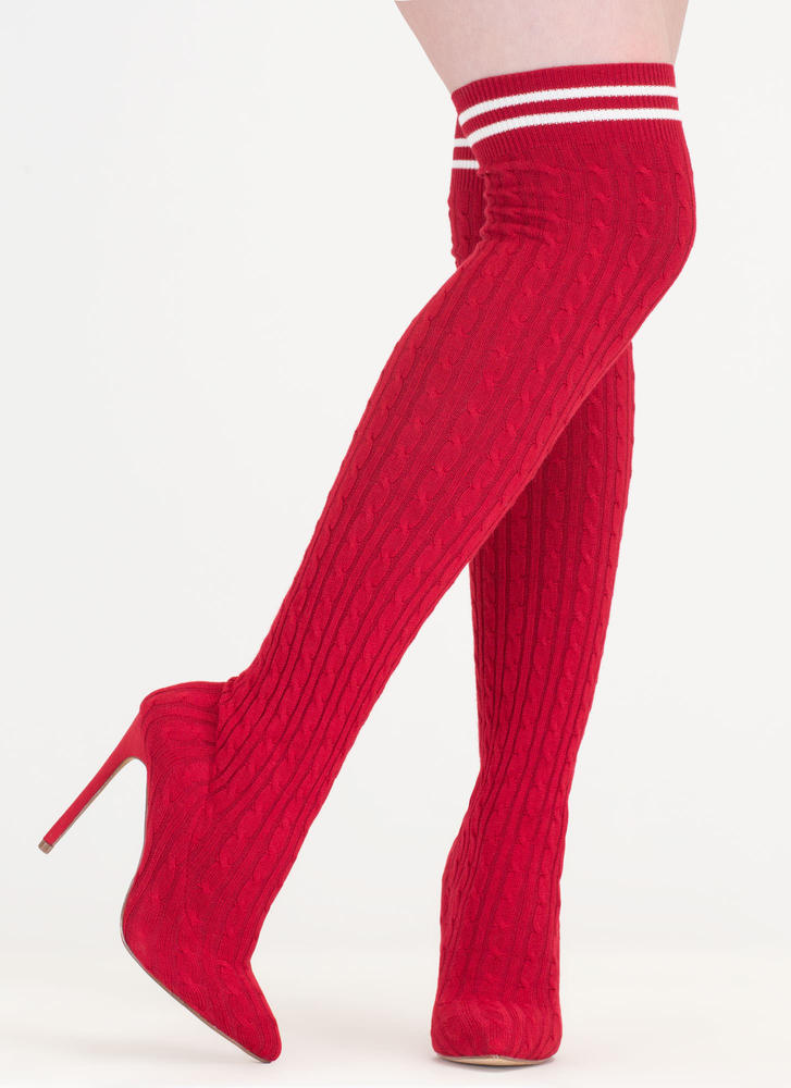 Knit's A Hit Thigh-High Sock Boots RED