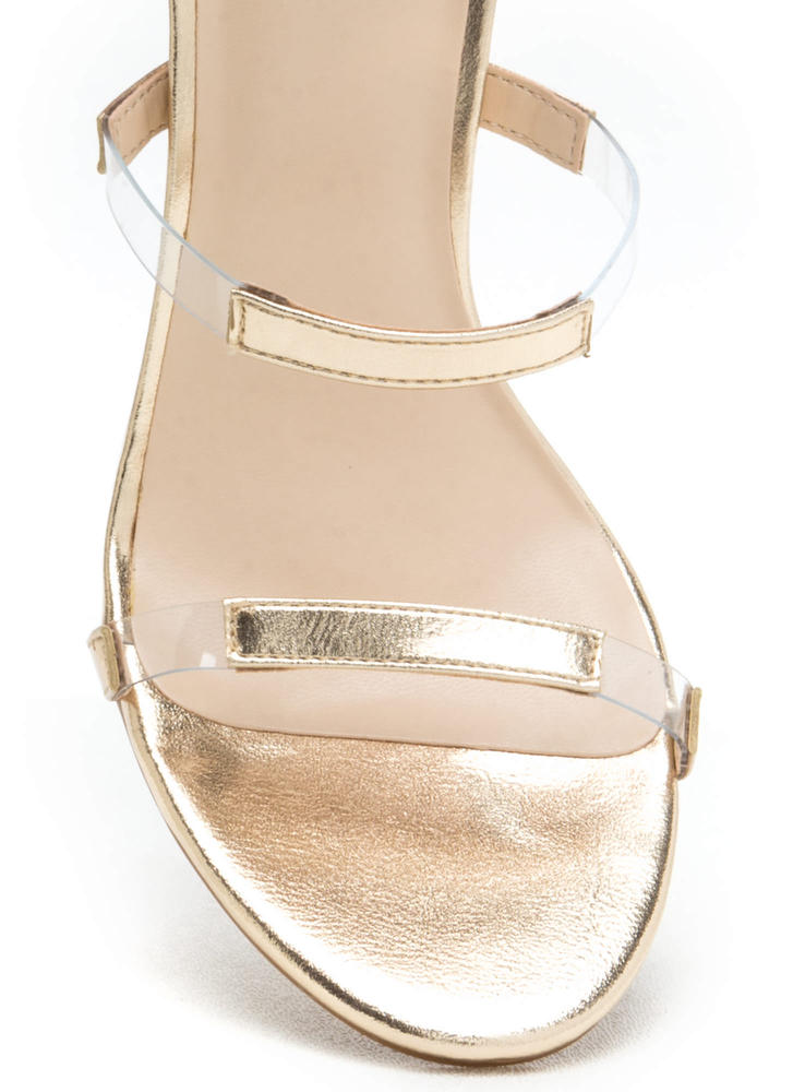 Float On Caged Metallic Clear Heels GOLD