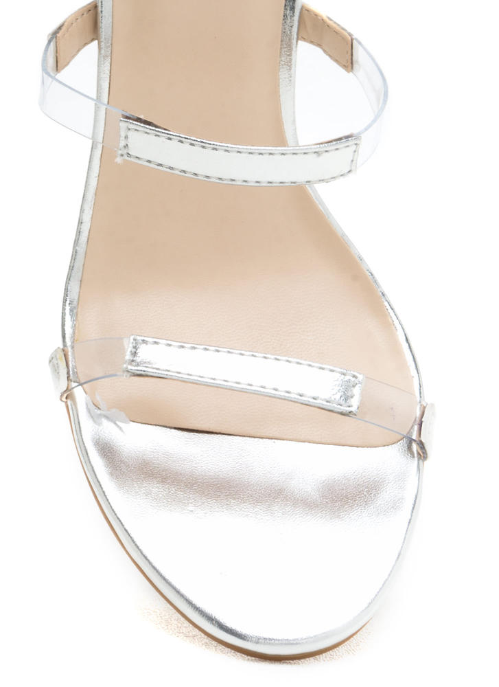 Float On Caged Metallic Clear Heels SILVER