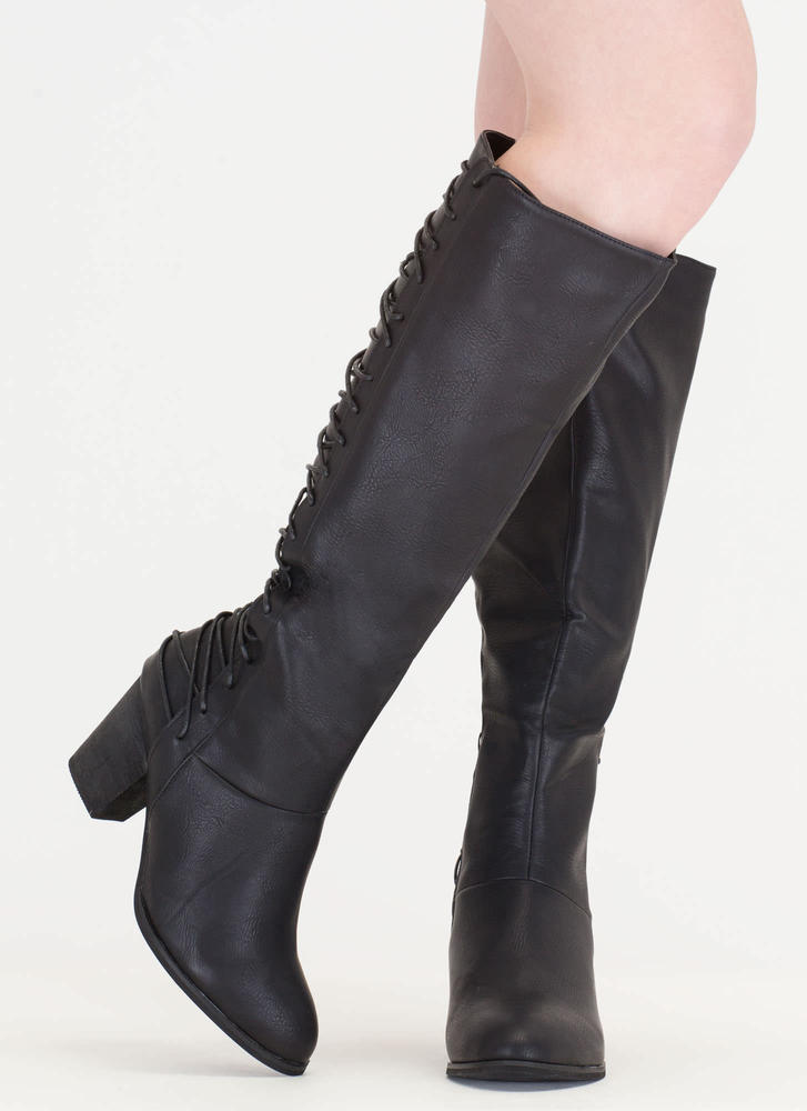 All Day Style Chunky Lace-Back Boots BLACK (Final Sale)