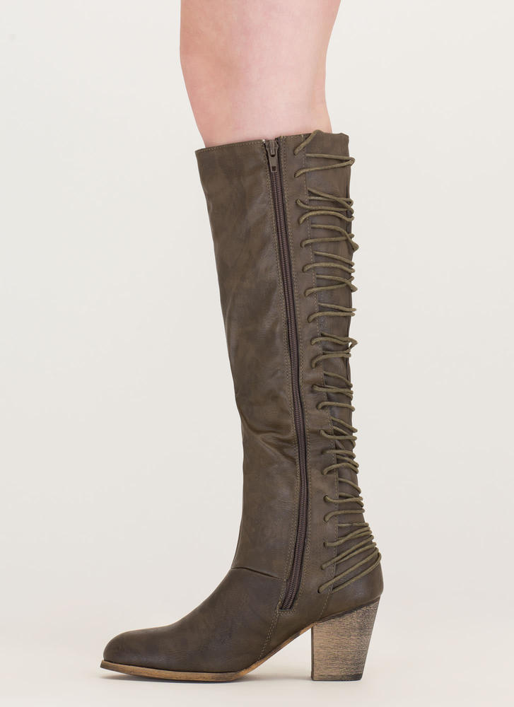 All Day Style Chunky Lace-Back Boots OLIVE (Final Sale)