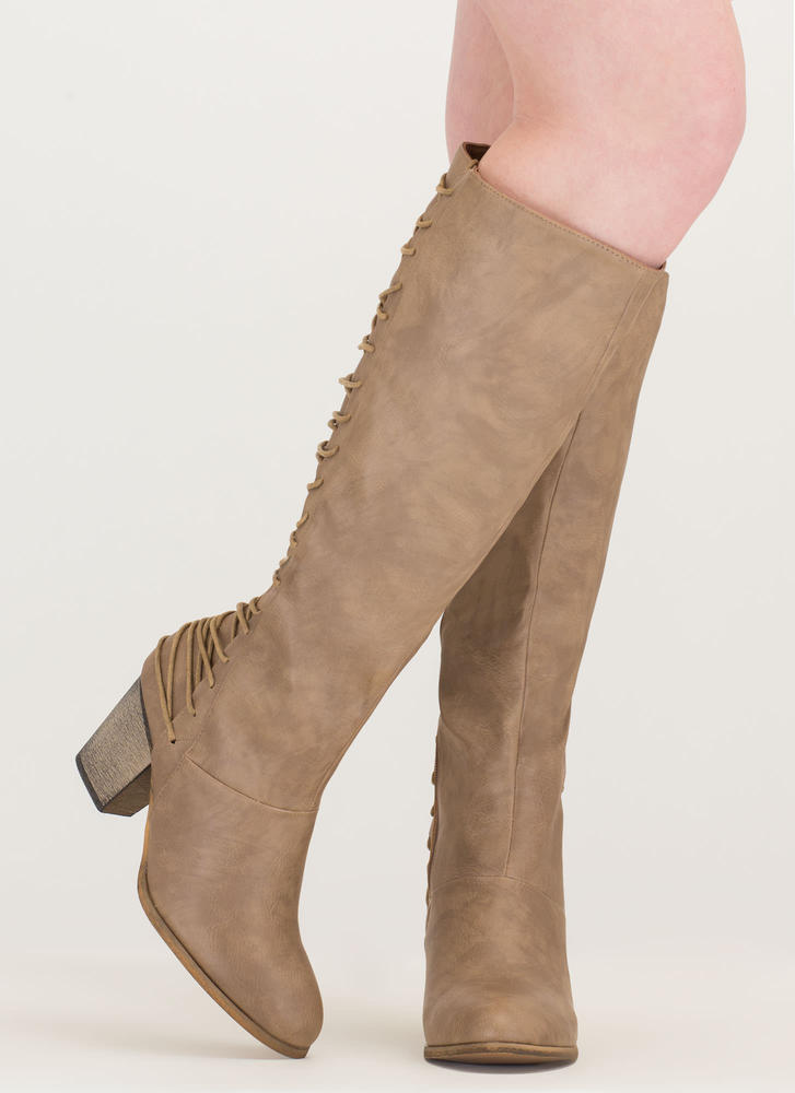 All Day Style Chunky Lace-Back Boots TAUPE (Final Sale)