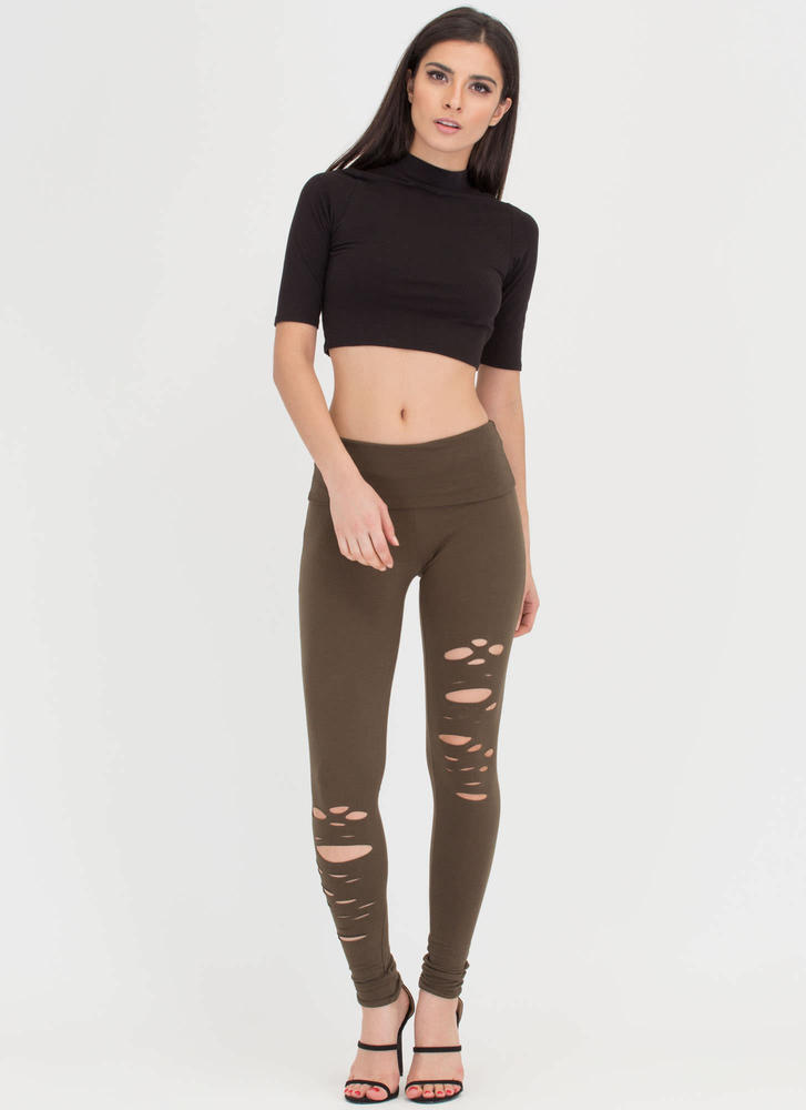 Hole-some Cut-Out Leggings OLIVE