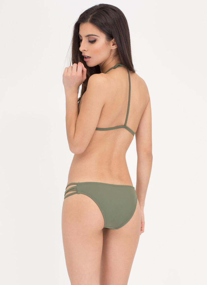 Fit To A T-Strap Caged Bikini Set OLIVE (Final Sale)