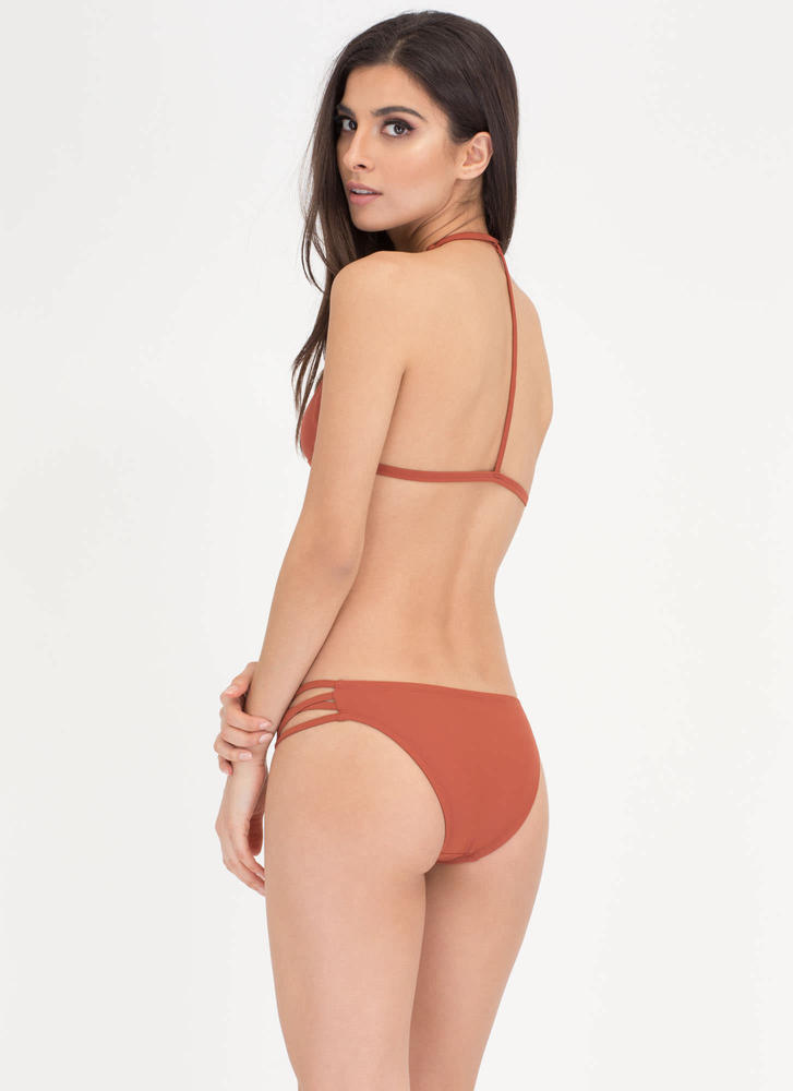 Fit To A T-Strap Caged Bikini Set RUST (Final Sale)