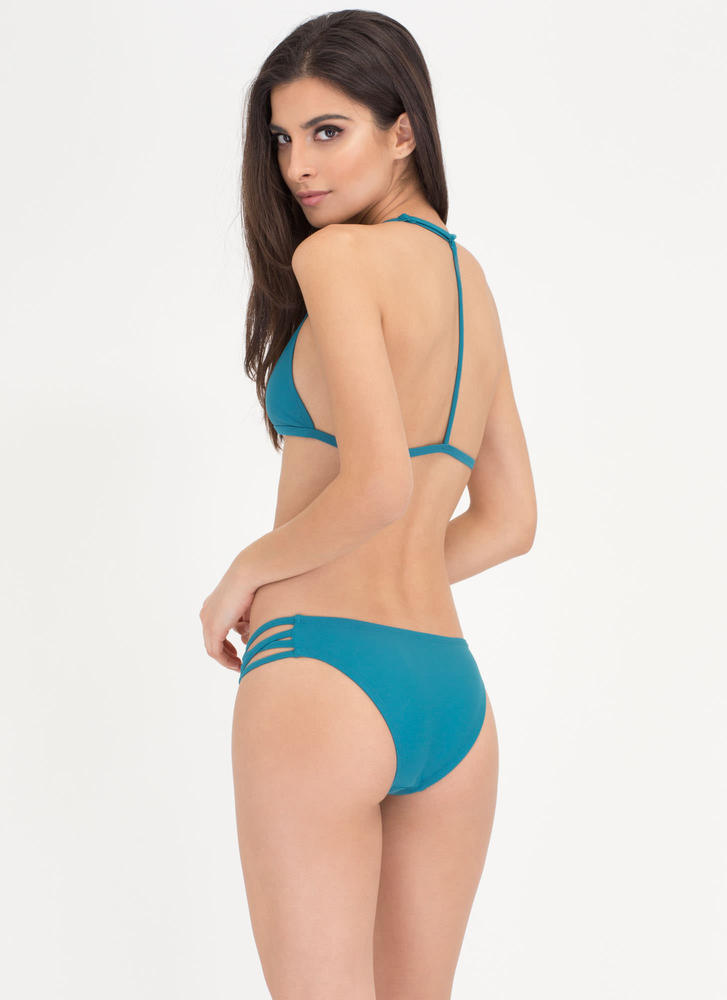 Fit To A T-Strap Caged Bikini Set TEAL (Final Sale)