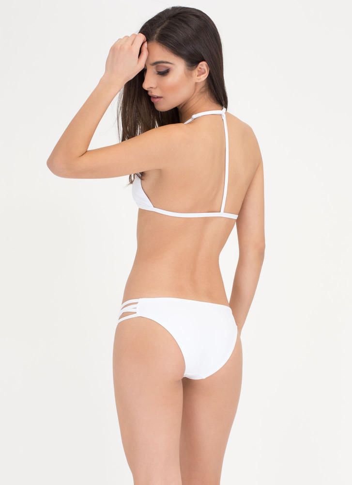 Fit To A T-Strap Caged Bikini Set WHITE (Final Sale)