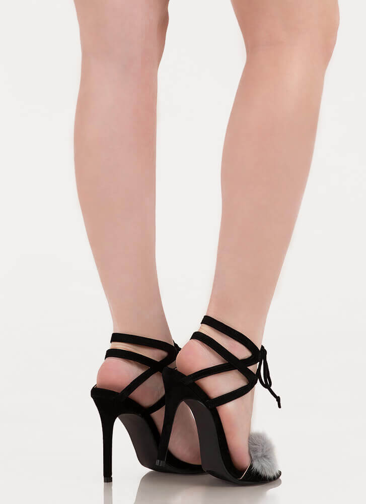 Pom-Pom Parade Strappy Lace-Up Heels BLACK