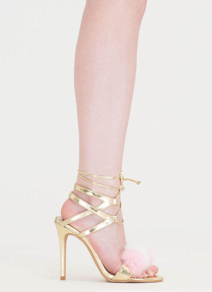 Pom-Pom Parade Metallic Lace-Up Heels GOLD