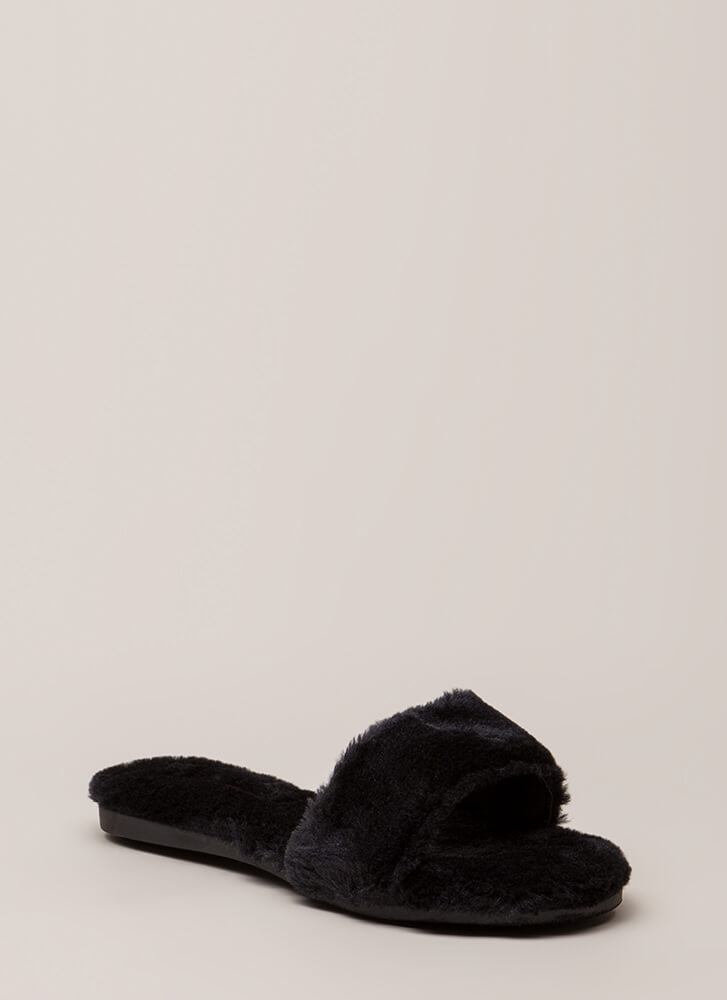 Furry Up Lined Slip-On Sandals BLACK
