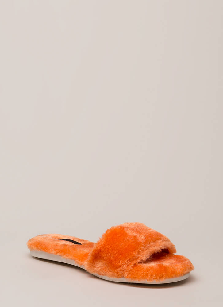 Furry Up Lined Slip-On Sandals ORANGE