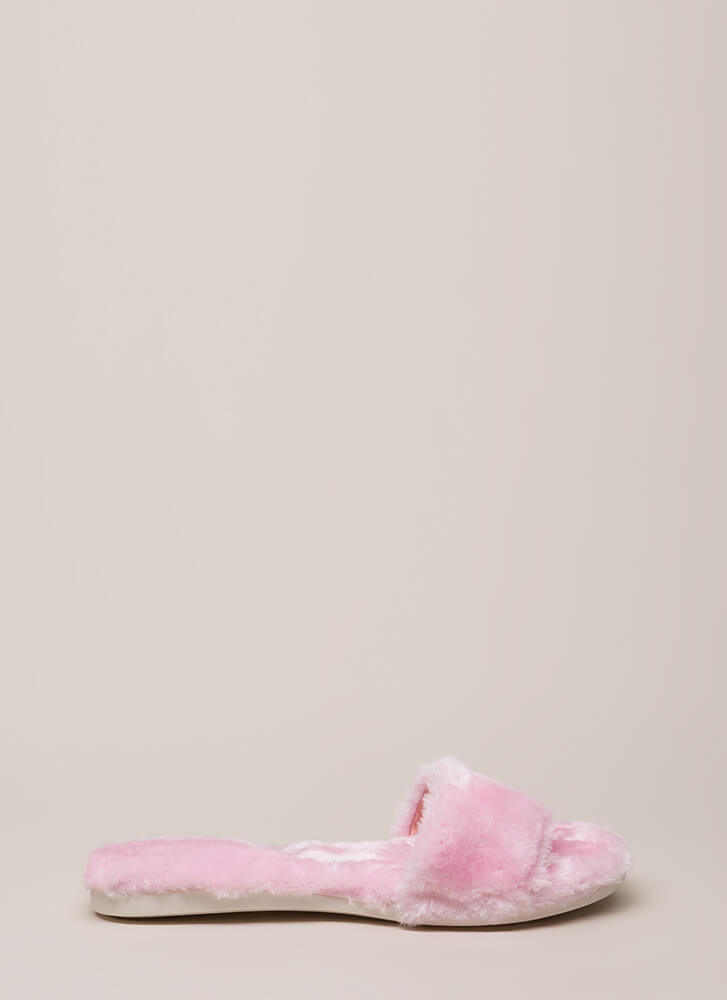 Furry Up Lined Slip-On Sandals PINK