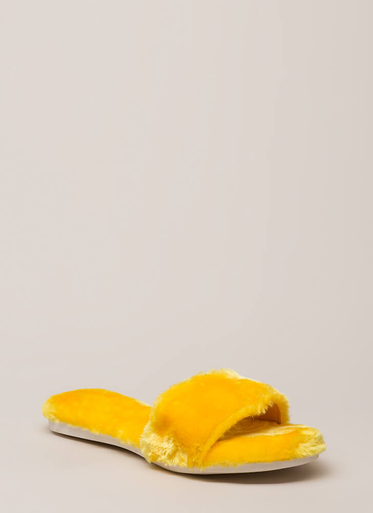 Furry Up Lined Slip-On Sandals YELLOW