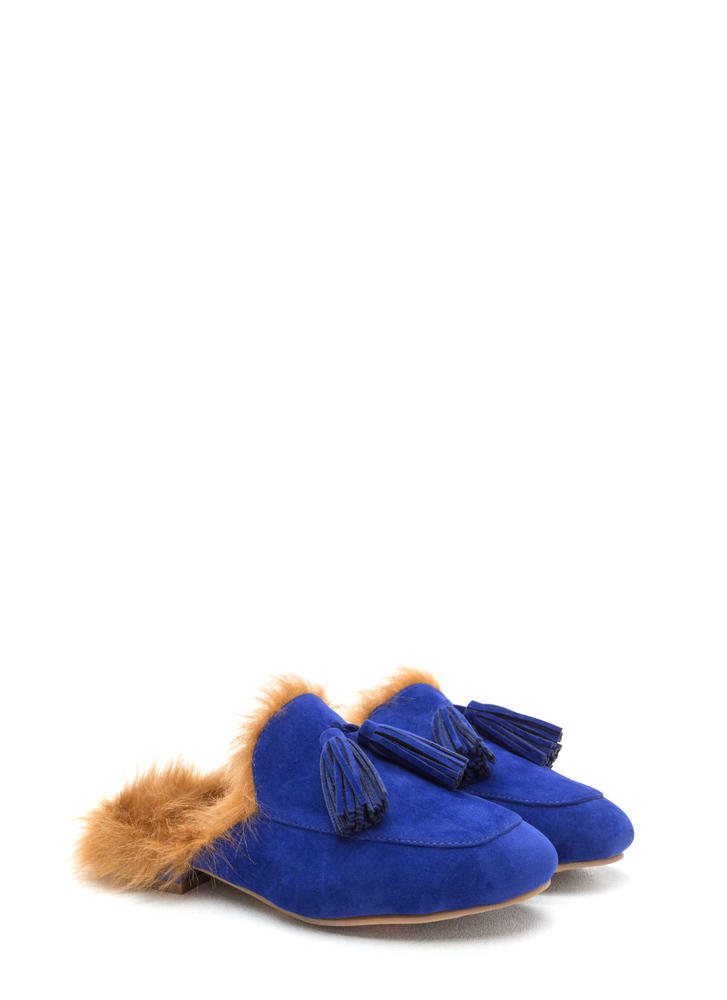 Furry Up Tasseled Moccasin Mules BLUE