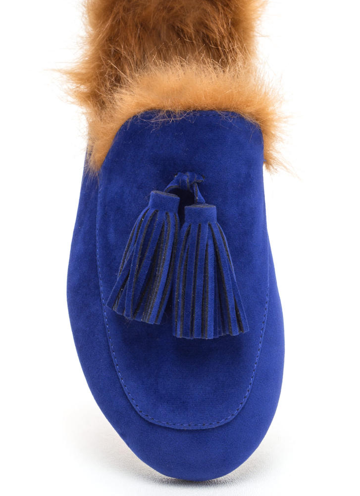 Furry Up Tasseled Moccasin Mules BLUE (Final Sale)