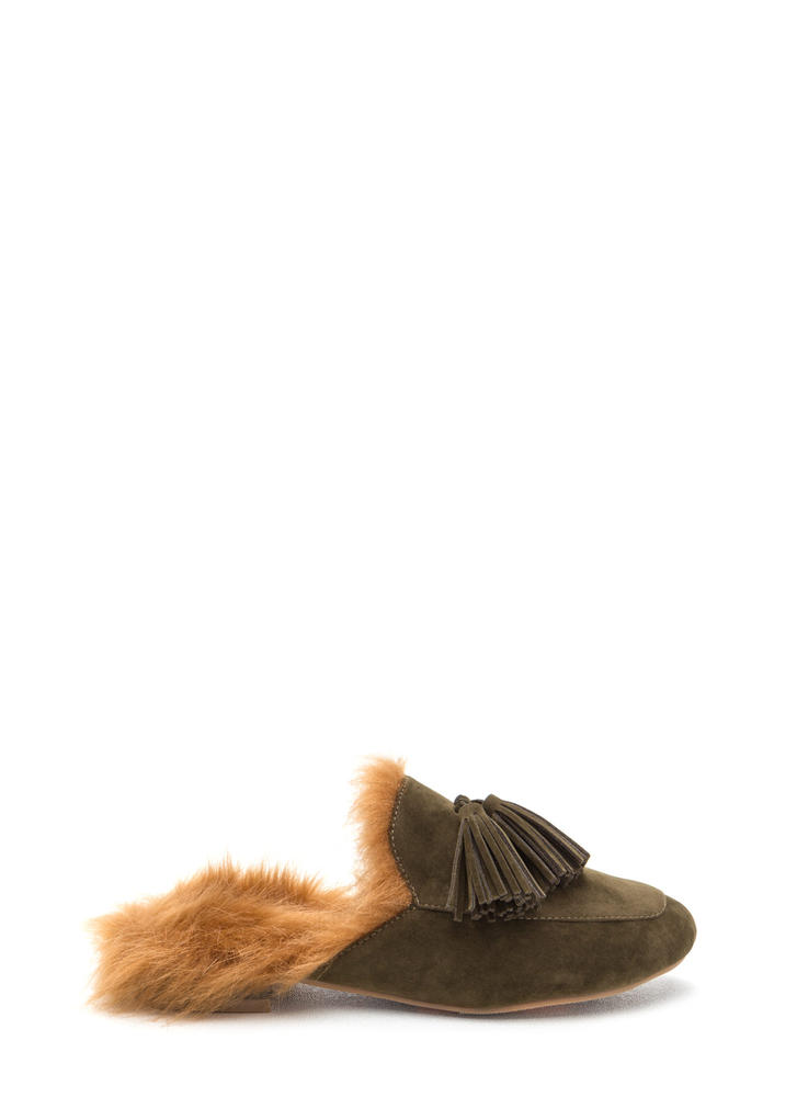 Furry Up Tasseled Moccasin Mules OLIVE (Final Sale)