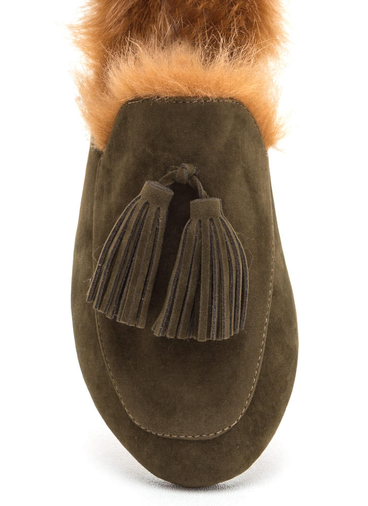 Furry Up Tasseled Moccasin Mules OLIVE