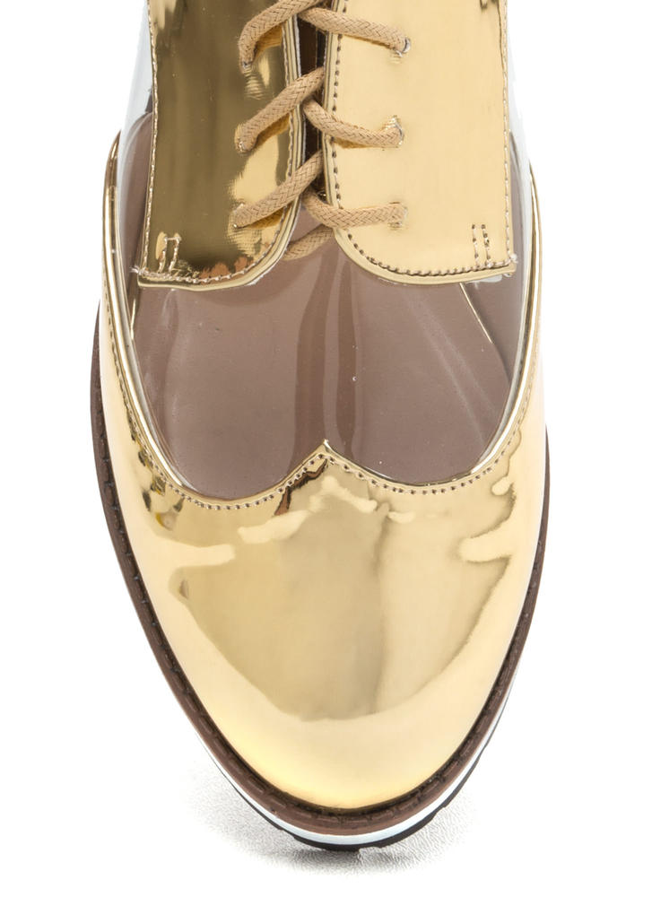 Tomboy Style Clear Metallic Oxford Flats GOLD