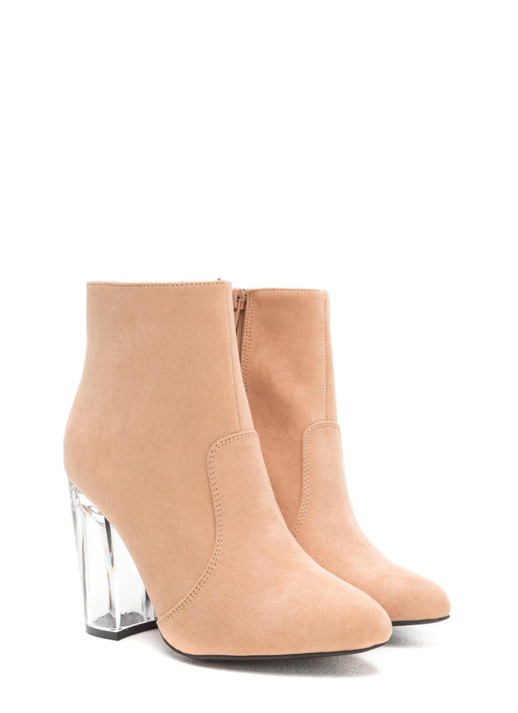 Crystal Clear Chunky Faux Suede Booties BLUSH