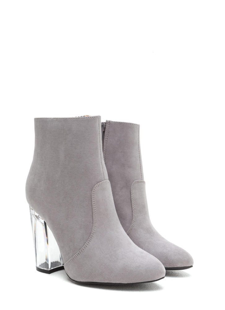 Crystal Clear Chunky Faux Suede Booties LTGREY