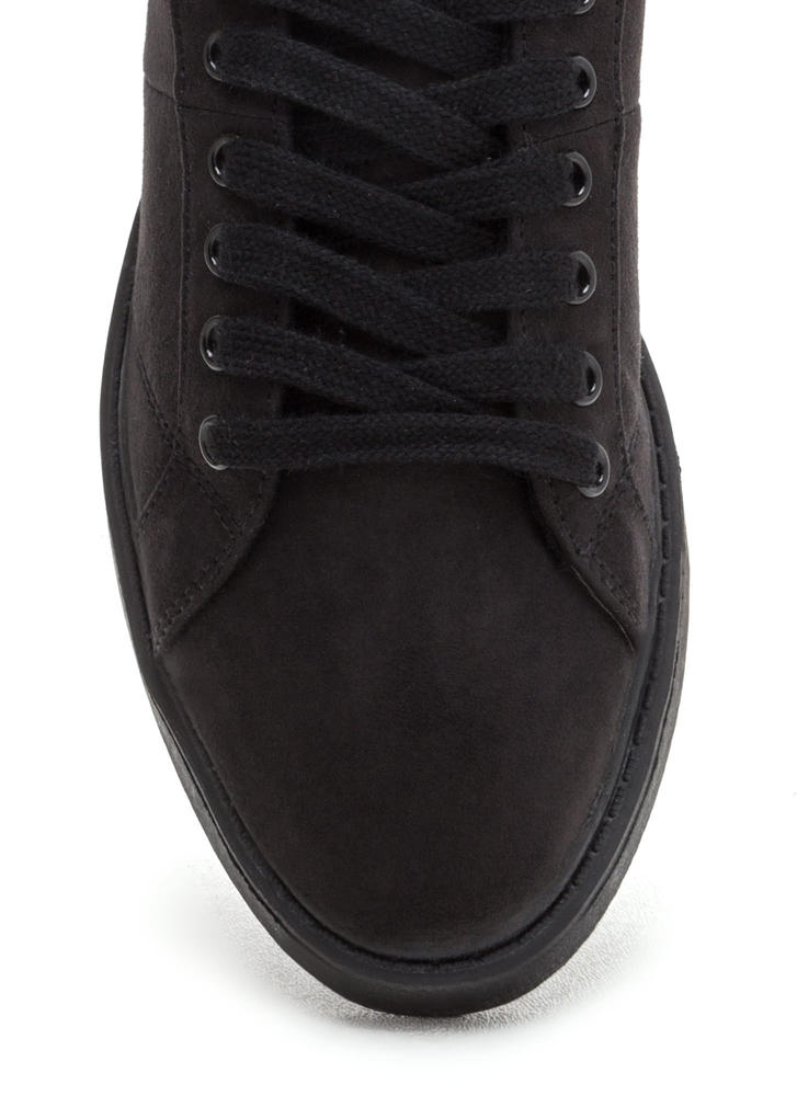 Style Points Faux Suede Sneakers BLACK