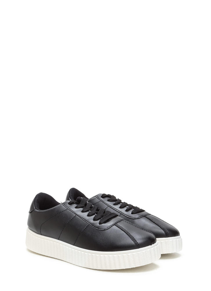 So Slick Faux Leather Creeper Sneakers BLACK