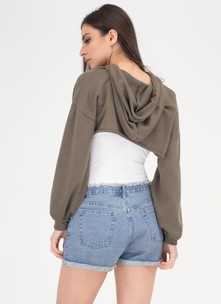 Bust Out High-Low Hoodie Crop Top OLIVE (Final Sale)