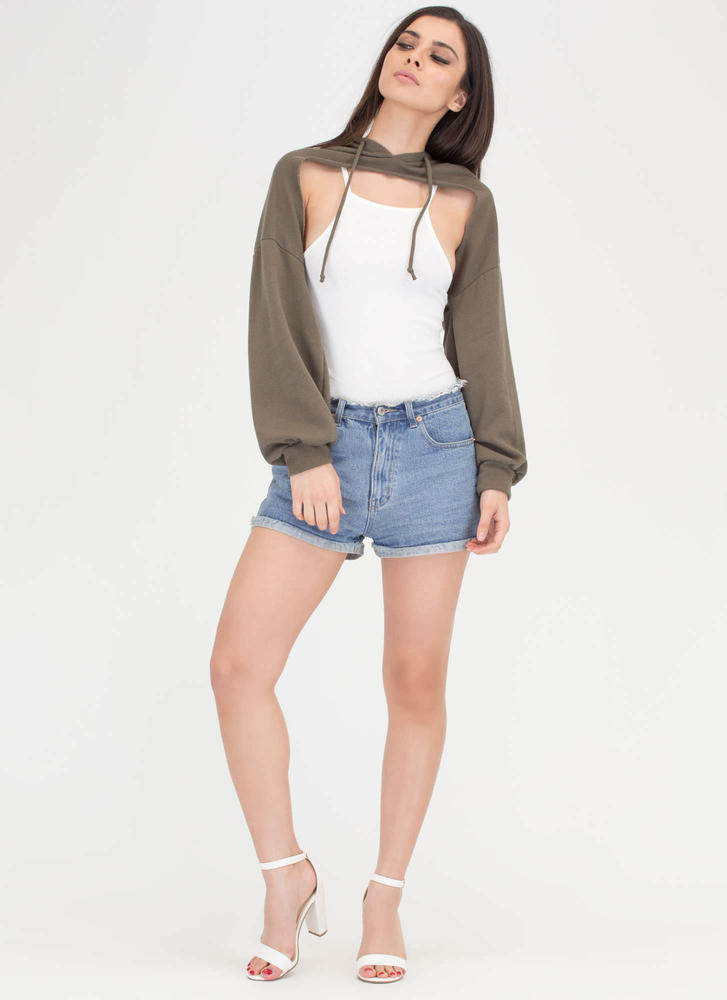 Bust Out High-Low Hoodie Crop Top OLIVE