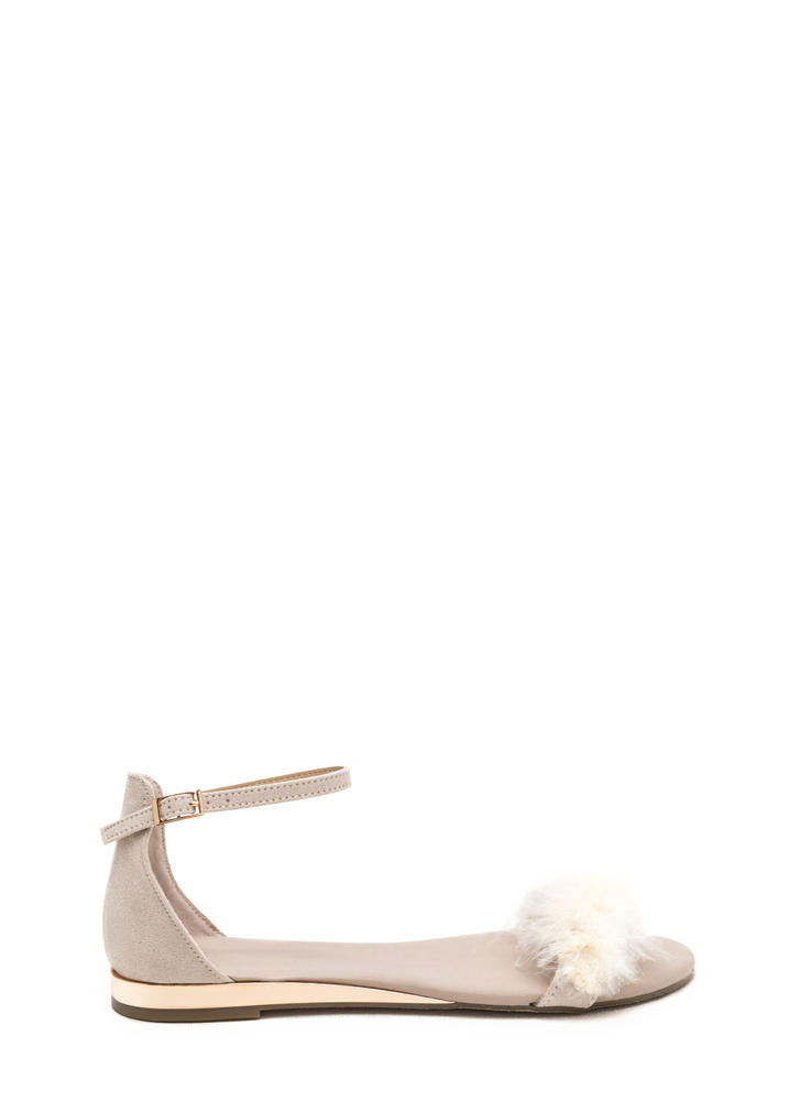 Feathered Friends Faux Suede Sandals IVORY