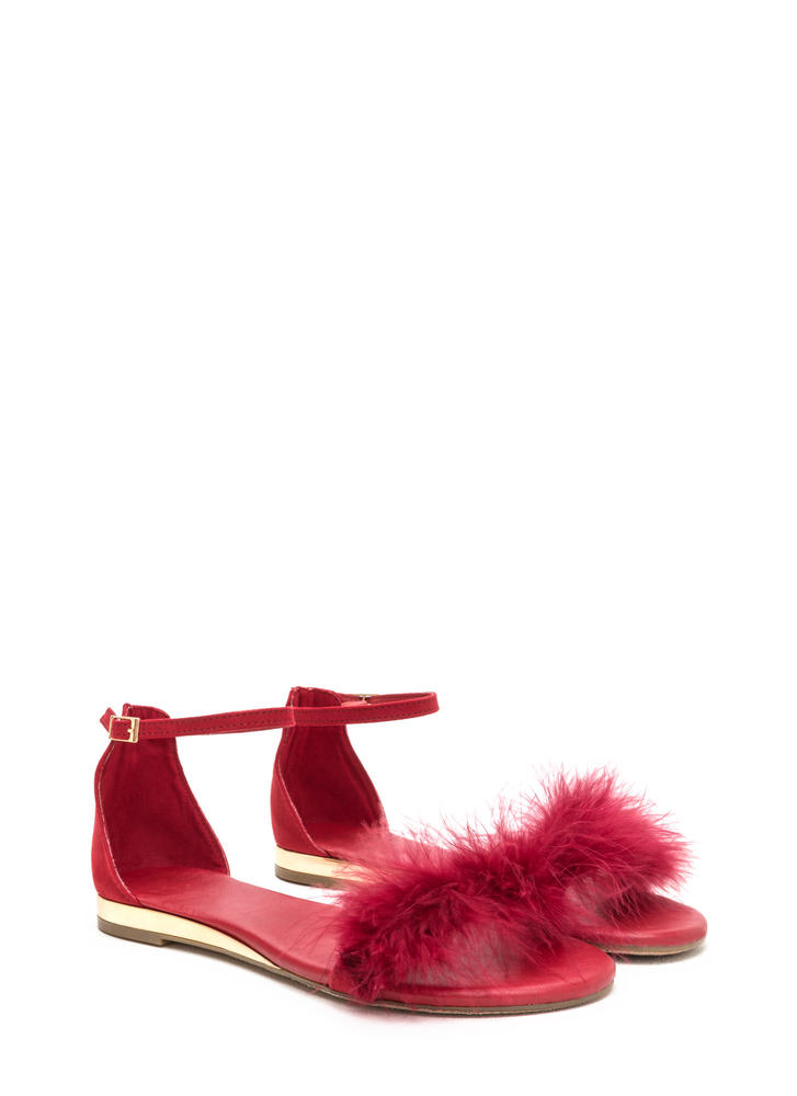 Feathered Friends Faux Suede Sandals RED