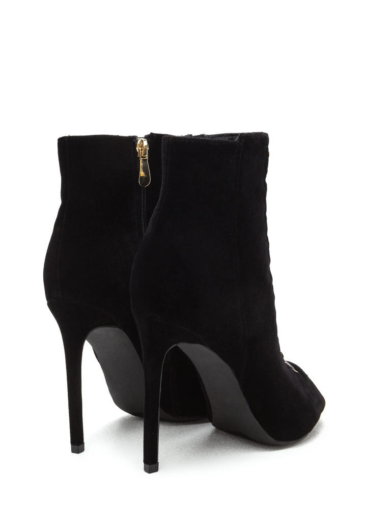 Lace-Up Look Mixed Media Booties BLACK