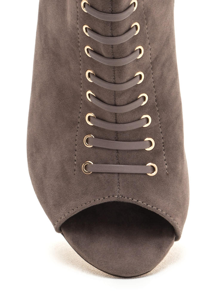 Lace-Up Look Mixed Media Booties GREY