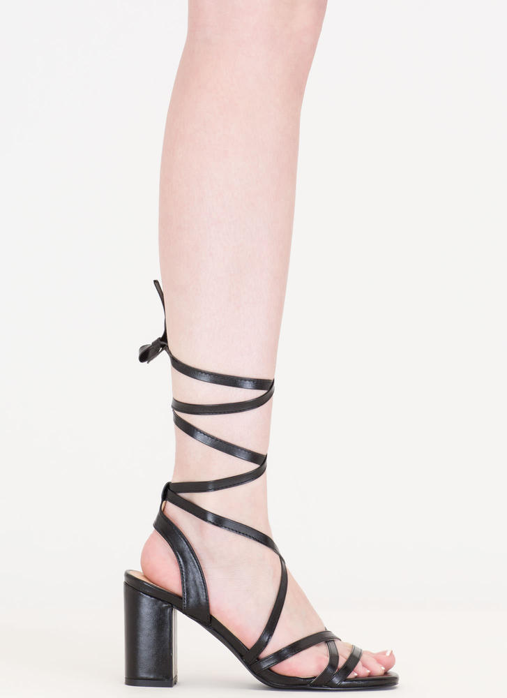 Tie And Mighty Strappy Chunky Heels BLACK