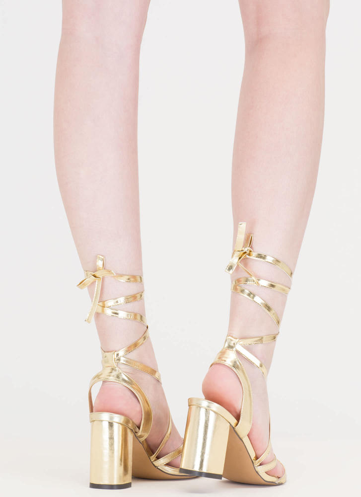 Tie And Mighty Metallic Chunky Heels GOLD