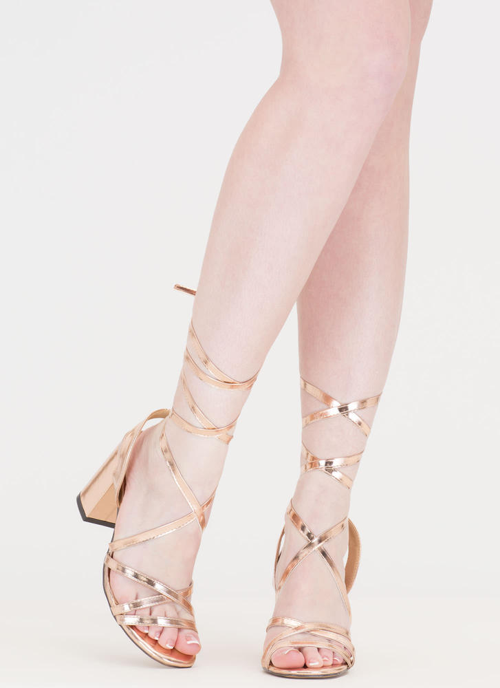 Tie And Mighty Metallic Chunky Heels ROSEGOLD