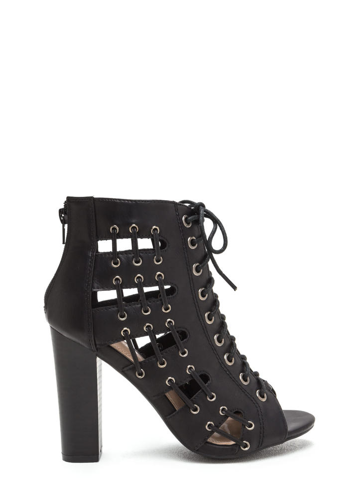 Stitch In Time Chunky Caged Heels BLACK (Final Sale)