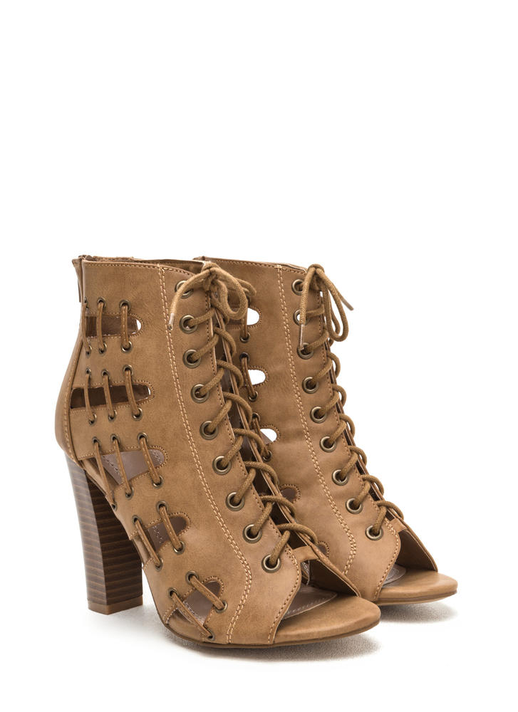 Stitch In Time Chunky Caged Heels LTTAN