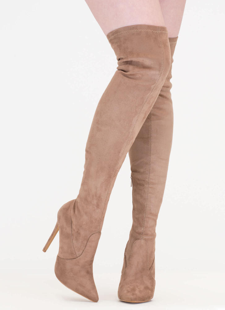 Thigh Zone Pointy Over-The-Knee Boots TAUPE