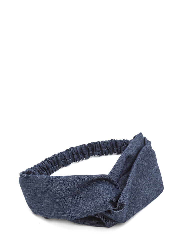 Stylish Twist Looped Denim Headband DKDENIM (You Saved $5)