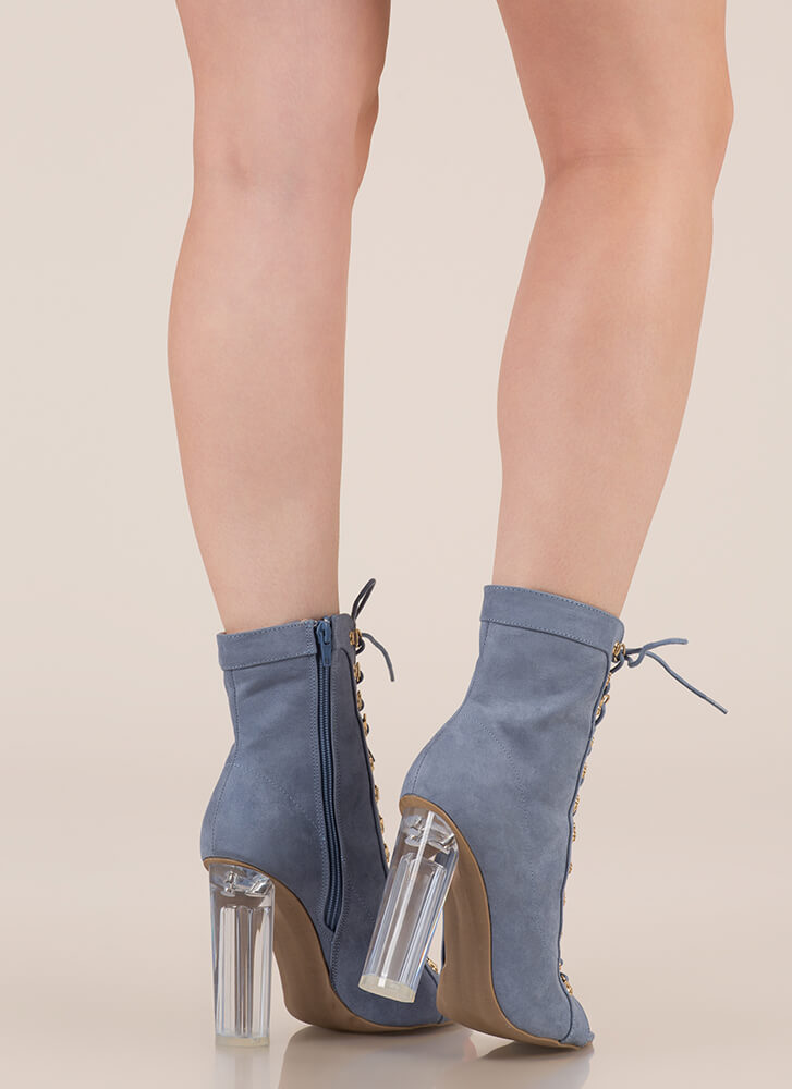 Cylinder Chic Chunky Lucite Booties BLUE