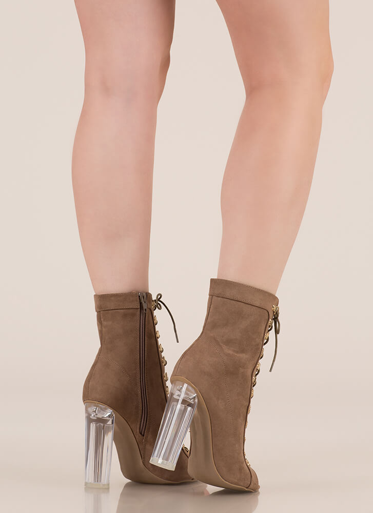 Cylinder Chic Chunky Lucite Booties TAUPE