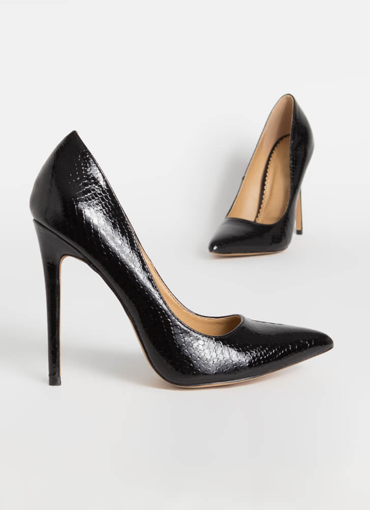 Snake A Look Pointy Heels BLACK